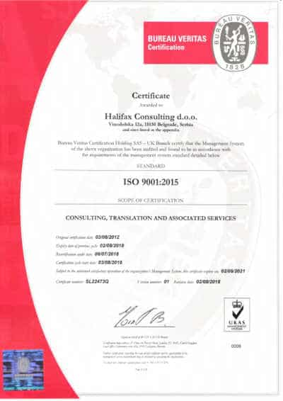 Quality translation services - ISO9001 certificate - Quality Management